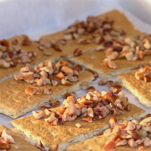 ... and lay out on parchment paper. Sprinkle pecan pieces over grahams