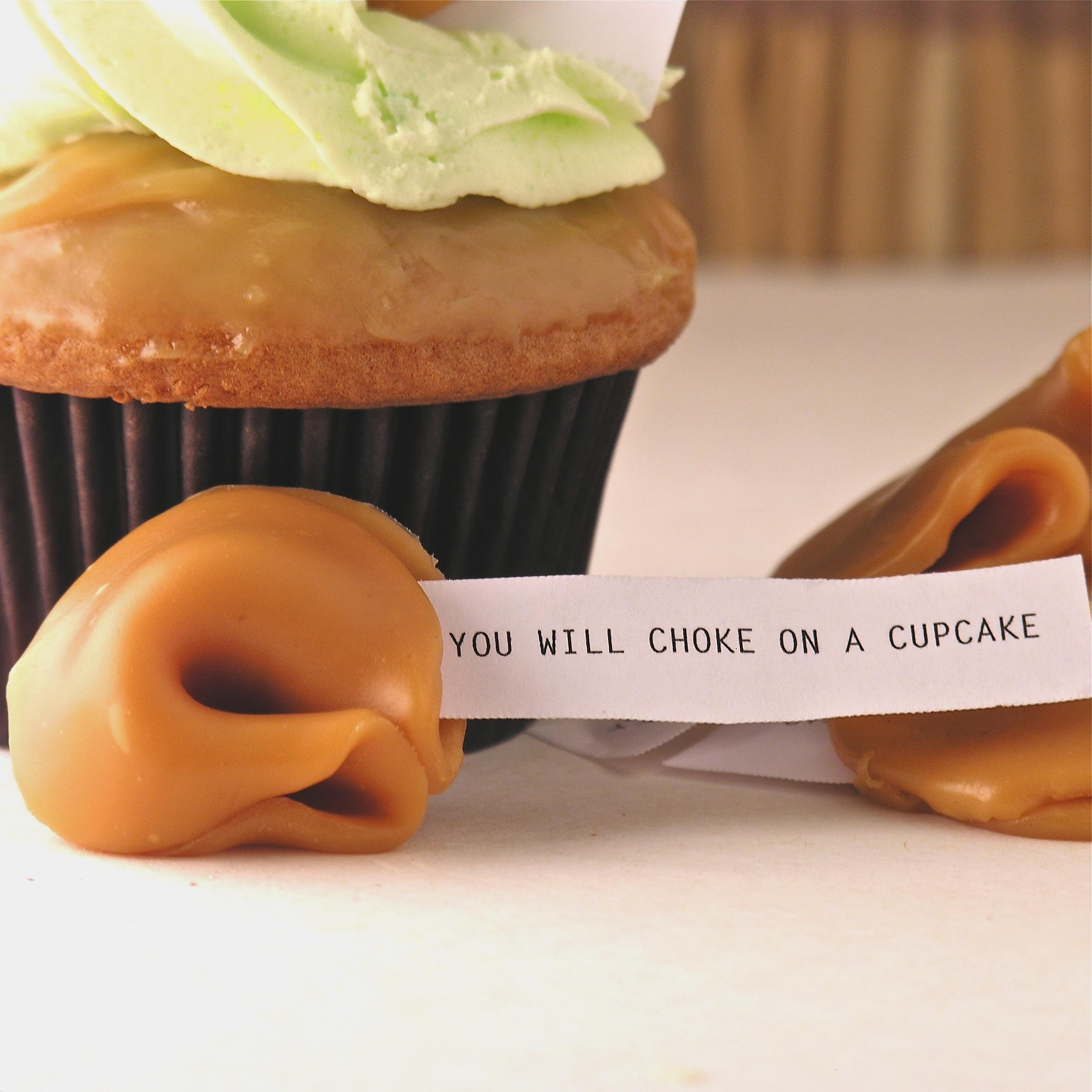 Caramel Apple Cupcakes With Halloween Misfortune Cookies