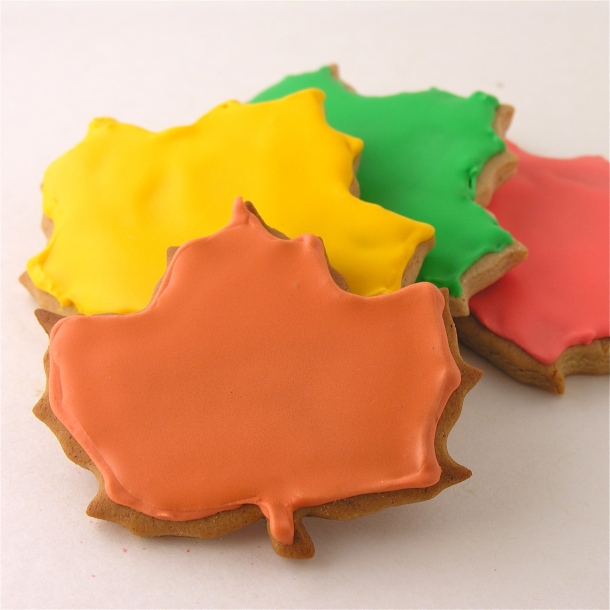 Honey cookies cut into leaf shapes!