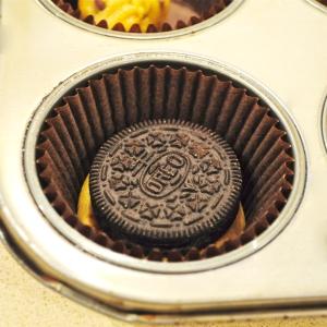 Press Oreo on top of cookie dough..