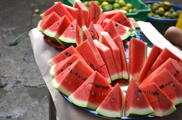 Fresh watermelon in the market at Iquitos