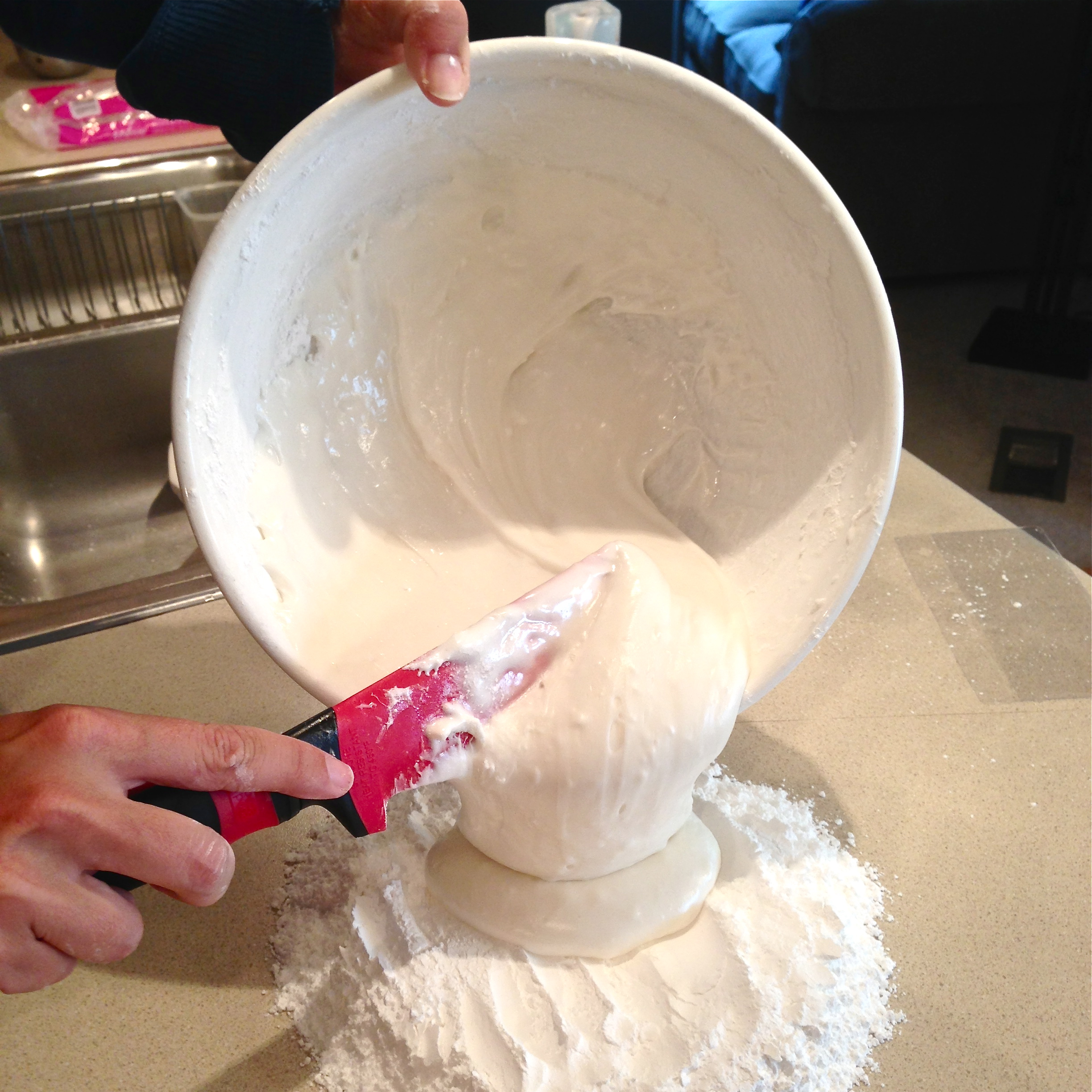 Melt marshmallows Mix until smooth Pour onto counter ...