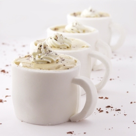 Mocha cupcakes in edible fondant mug