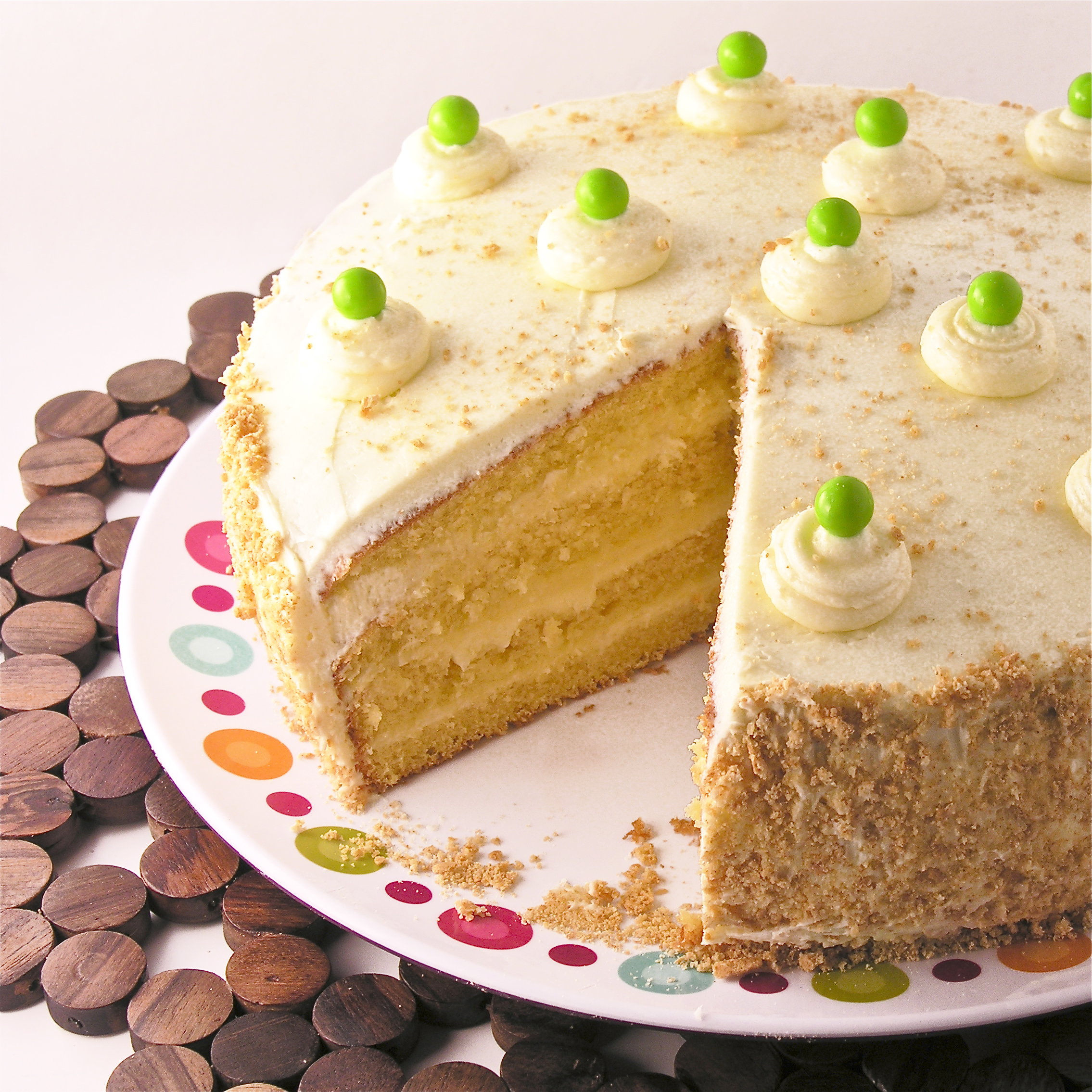 Moist cake layered with buttercream and tart key lime filling. A ...