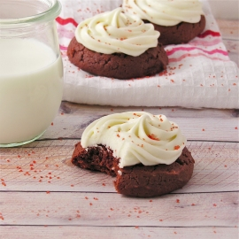 Red velvet cookies with cream cheese icing!!