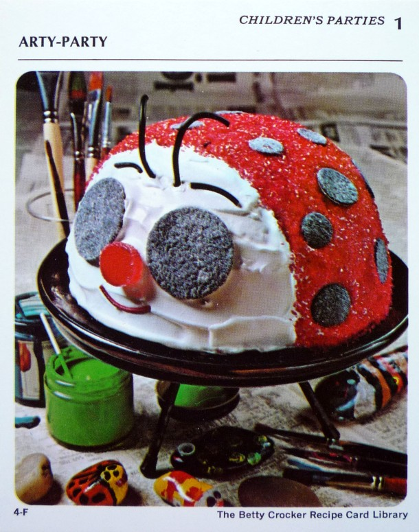 Betty Crocker 70's recipe card- Lady Bug Cake!