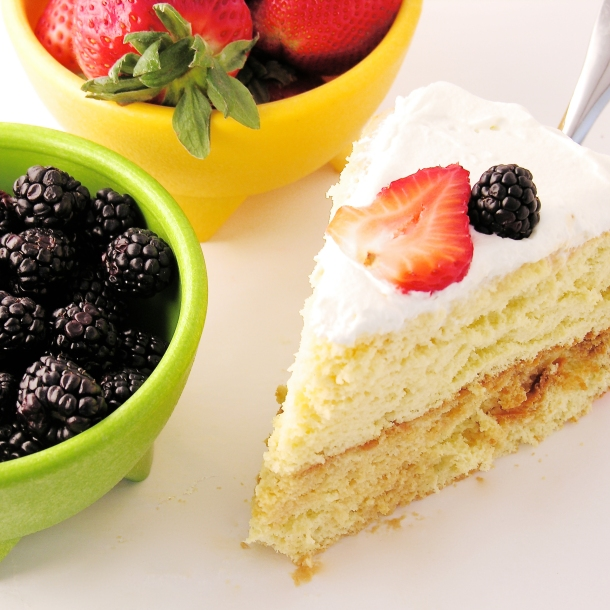 Tres Leches Cake with caramel and fruit