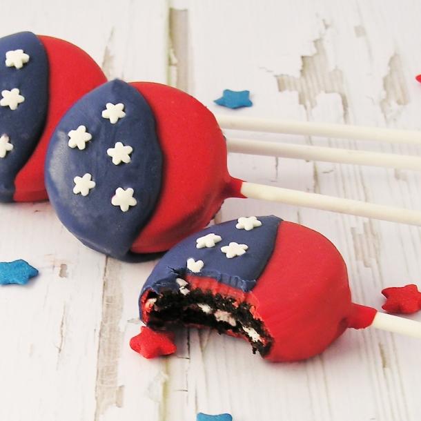 American Flag Oreo Pops!!!!