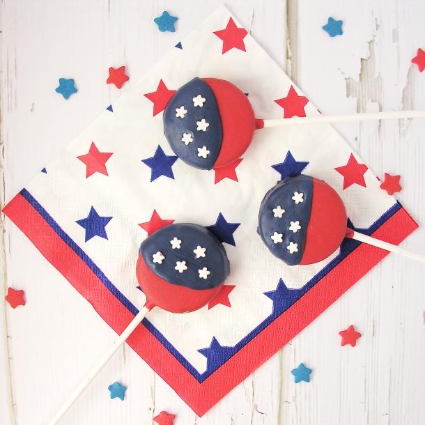 American Flag Oreo Pops!!!!!