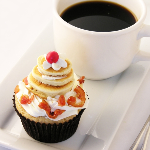 Pancake cupcakes with coffee