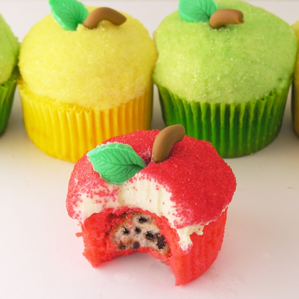 Apple cupcakes filled with seeds