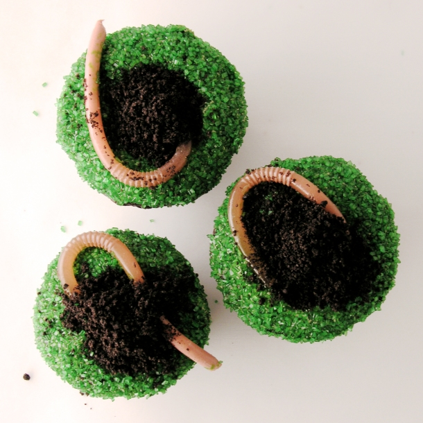 Worm cupcakes
